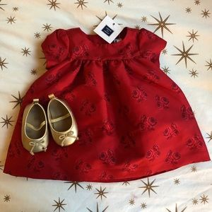 Janie and Jack Christmas Holiday Dress w/shoes NWT